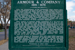 Historic marker at the site of the Armour Gates in South St. Paul