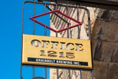 Sign hanging on the Grain Belt Brewery Office in Northeast Minneapolis