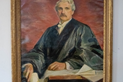 Portrait of former Hamline University President, George H. Bridgman, hanging in his namesake hall in Old Main