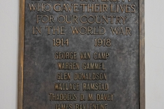 Plaque hanging in Bridgman Hall commemorating Hamline students who gave their lives in World War I