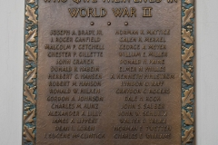 Plaque hanging in Bridgman Hall commemorating Hamline students who gave their lives in World War II