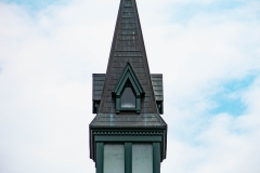 Top of the clock tower of Old Main Hall at Hamline University