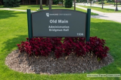 Old Main Hall campus sign