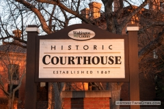 Sign outside the north side of the Historic Washington County Courthouse - Stillwater, MN