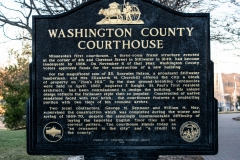 Historic marker on the grounds of the Historic Washington County Courthouse - Stillwater, MN