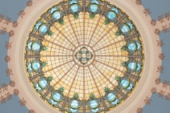 Stained glass window in the rotunda dome of the old Dakota County Courthouse