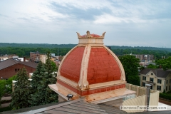 View of the mansard roof atop the northeast tower of the old Dakota County Courthouse
