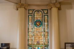 Stained glass on the 2nd floor of the old Dakota County Courthouse rotunda