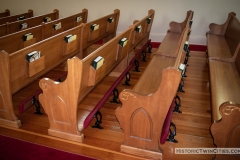 Pews in the nave of the Historic Church of St. Peter in Mendota