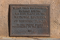 NRHP plaque near the west entrance to the Stockyards Exchange Building - South St. Paul