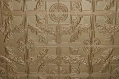 Stamped galvanized iron ceiling tiles inside the Stockyards Exchange Building - South St. Paul