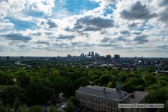 View facing west toward downtown Minneapolis from the observation deck of the Witch's Hat Water Tower in the Prospect Park neighborhood of Minneapolis