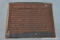 Plaque on the Witch's Hat Water Tower - Prospect Park, Minneapolis
