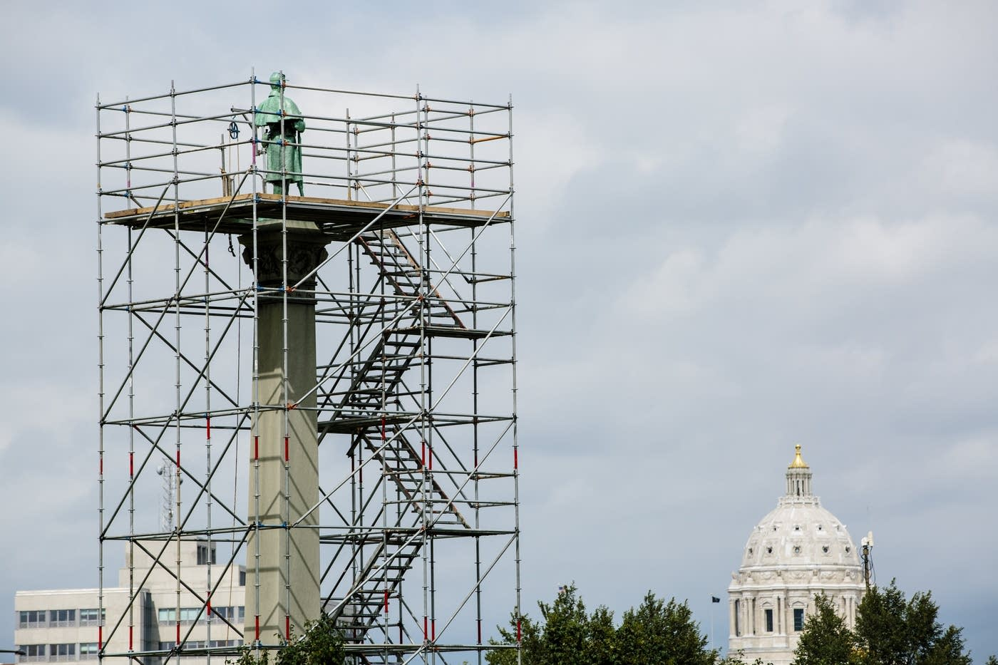 Scaffolding surrounding the Soldiers and Sailors Memorial during refurbishing in 2017 (MPR News)