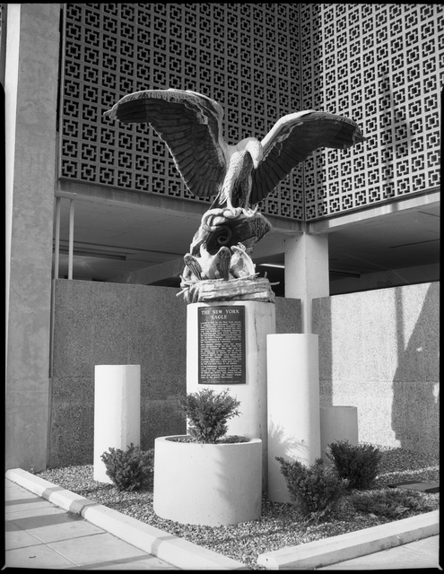 New York Life Eagle outside the Pioneer Building circa 1972