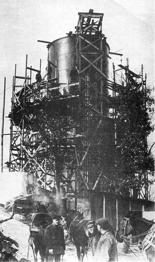 Prospect Park Water Tower under construction circa 1912