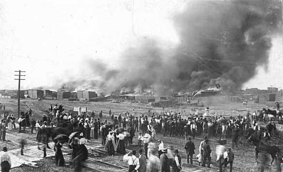 Lumberyard fire in Anoka circa 1884 (MHS)