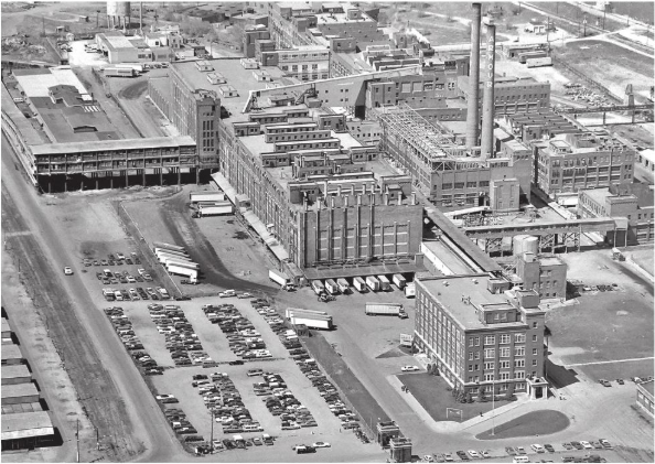 Armour Plant South St. Paul - the Armour Gates appear at the bottom center of the photo.