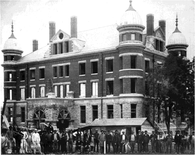 Stockyards Exchange Building under construction circa 1886 (Dakota County Historical Society)