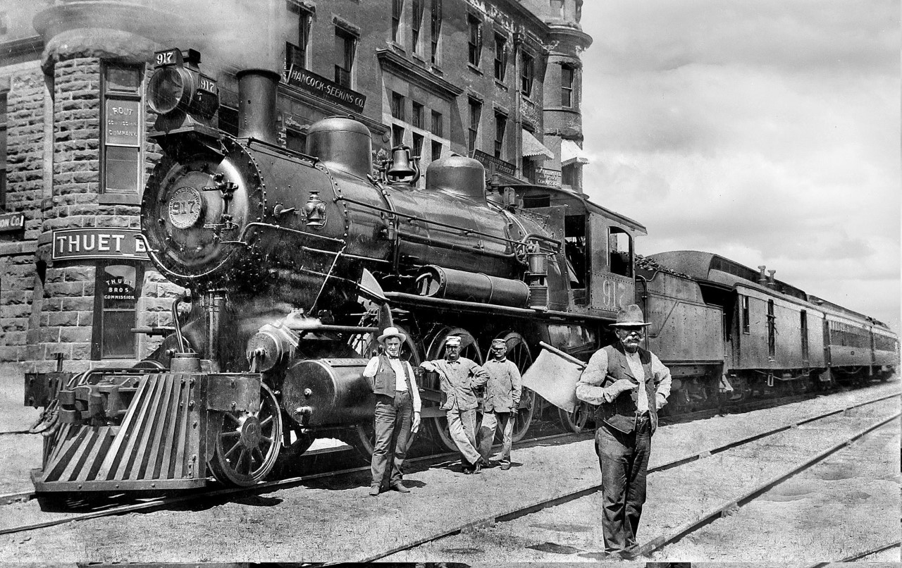 Train in front of the Stockyards Exchange Building - South St. Paul
