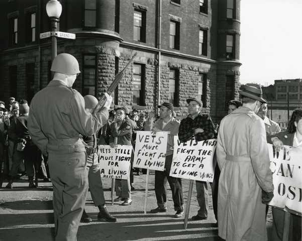National Guard and meatpacking strikers South St. Paul. circa 1948 (MNHS)
