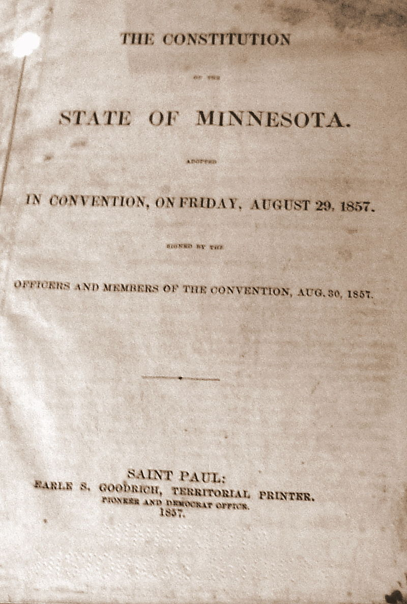 First printing of the Minnesota State Constitution circa 1857